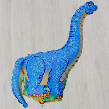 Фольгированный шарик гелиевый голубой динозавр