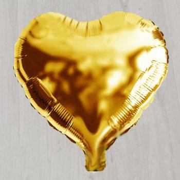 Шар фольгированый с гелием в виде золотого сердечка