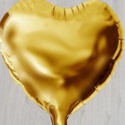 Золотое сердечко надувное с гелием большое