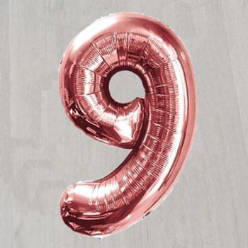 Фльгированный шар в видке большой розовой девятки 1 метр
