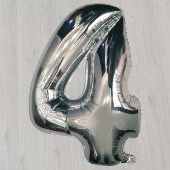 Серебряный фольгированный шар в виде цифры четыре сорок два дюйма