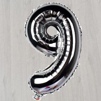 Цифра с гелием девять серебряная