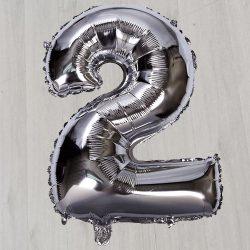 Серебряный фольгированный шар в виде цифры 2 1 метр 5см