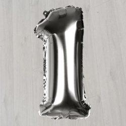 Единичка с гелием метровая серебро