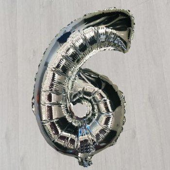 шестёрка серебряная с гелием 105см шарик