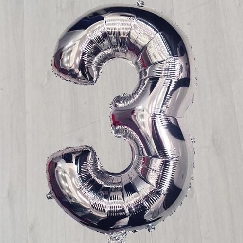 Цифра три шарик серебряный фольгированный с гелием