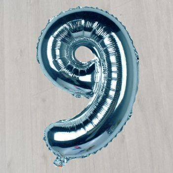 Шар фольгированный большой цифра девять с гелием