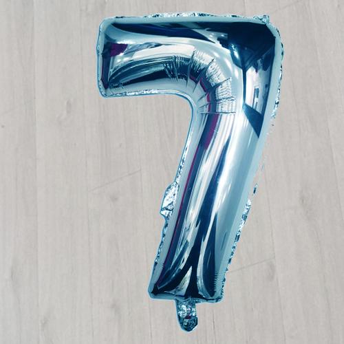 Шар фольгированный серебристый синий 42 дюйма с гелием