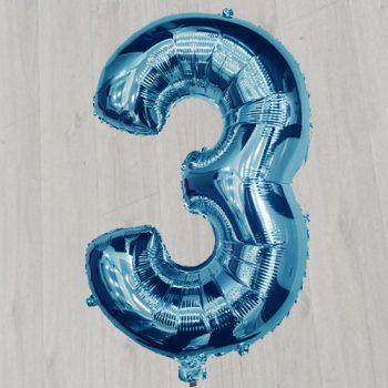 Цифра три фольгированная с гелием сорок дюймов синяя
