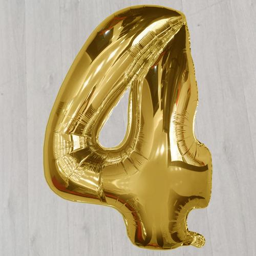 Шарик с гелием в виде золотой цифры четыре большой