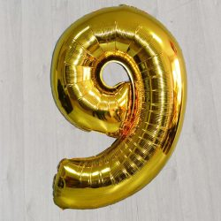 Шарик фольгированный девятка золотая с гелием