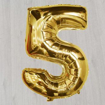 Пять с гелием фольированный шар золотой