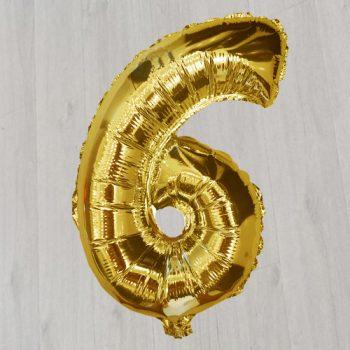 Золотая цифра шесть 1 метр с гелием