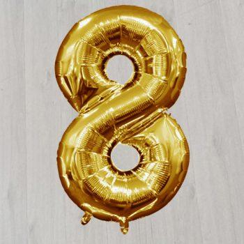 Шарик с гелием в виде золотой цифры восемь
